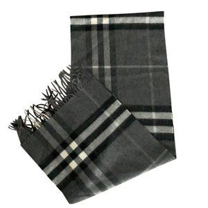 Burberry Charcoal Classic Check Cashmere Scarf